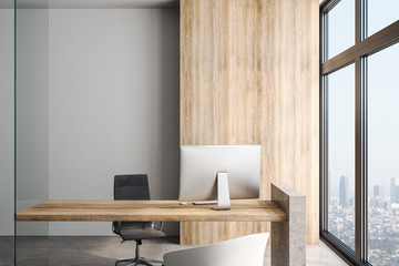 Fotomurales - Loft style empty office with Wooden table and wall.