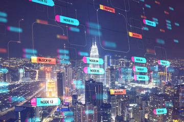 Global technology concept with digital node tree screen and night megapolis city. Wall mural