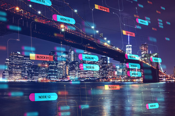 Programming and technology concept with digital node tree and night city view. Wall mural