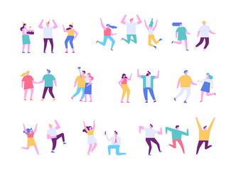 Happy people. Flat vector character set. People dancing and have fun.  Birthday party, celebration, event. Friendship. Couples.  Men and women enjoying dance party isolated on white.