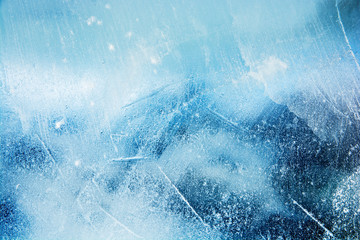 The texture of the ice. The frozen water.Winter background  Wall mural