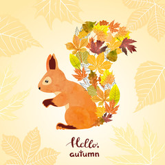 Autumn card with cute watercolor squirrel.