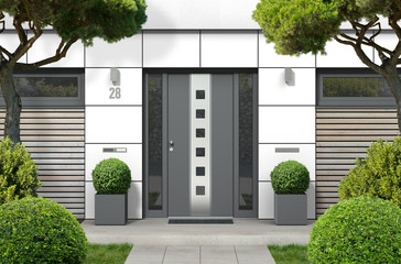 3D rendering of modern real estate bungalow home facade with white front door, yard and pine trees