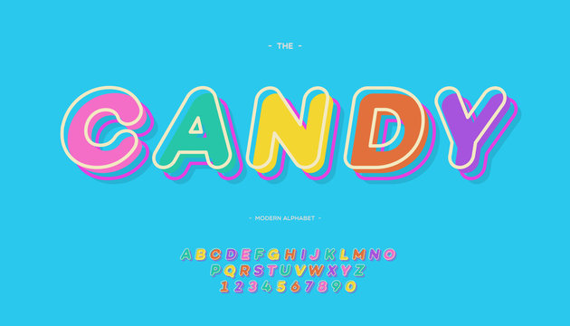 Vector candy alphabet color style modern typography