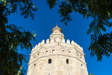 The Torre del Oro tower in Seville, Spain.