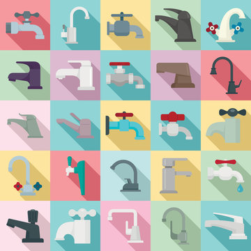 Faucet icons set. Flat set of faucet vector icons for web design