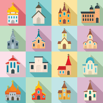 Church icons set. Flat set of church vector icons for web design
