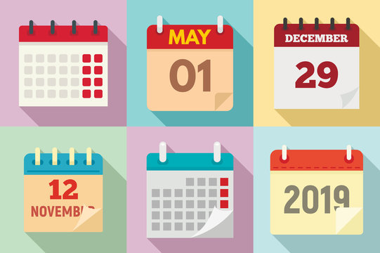 Calendar icons set. Flat set of calendar vector icons for web design