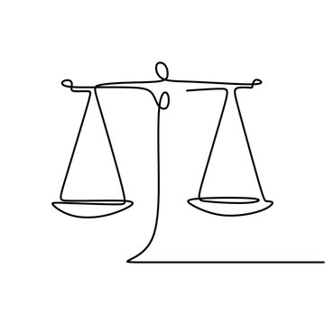 Continuous line drawing of law symbol of weight balance