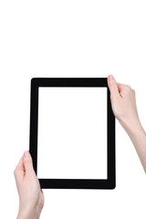 Tablet computer in female hands isolated on white background