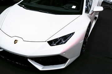 Sankt-Petersburg, Russia, July 21, 2017: Front view of a White Luxury sportcar Lamborghini Huracan LP 610-4. Car exterior details. Photo Taken on Royal Auto Show  July 21