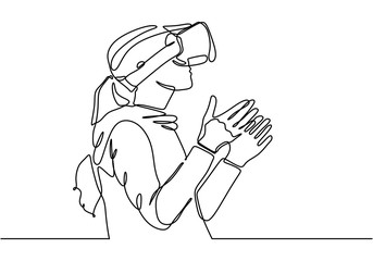 Continuous one line drawing of young girl with virtual reality glasses device minimalist lineart design