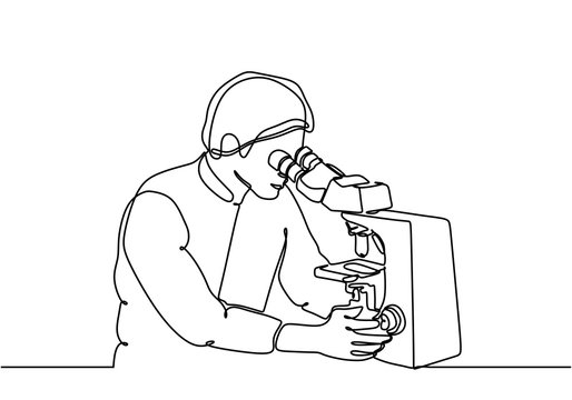 Continuous one line drawing person holding microscope minimalist design