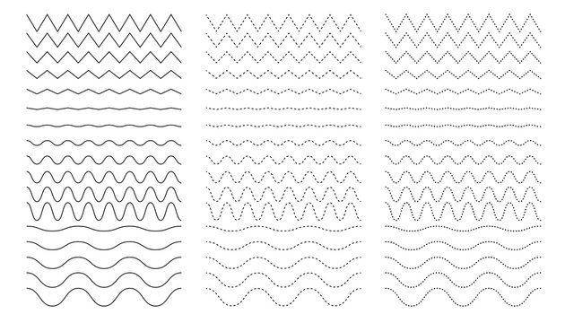 Curvy and zigzag line. Different thin line wave. Squiggle vector curve. Sinus dot amplitude. Dotted rows. Corrugated wavy sequence. Sine waveform