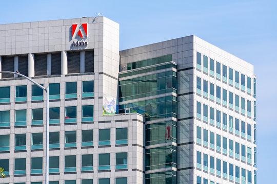 May 5, 2019 San Jose / CA / USA - Adobe Inc. headquarters in downtown San Jose, south San Francisco bay area, Silicon Valley