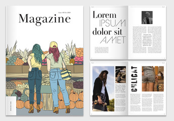 Magazine Layout with Illustrative Elements