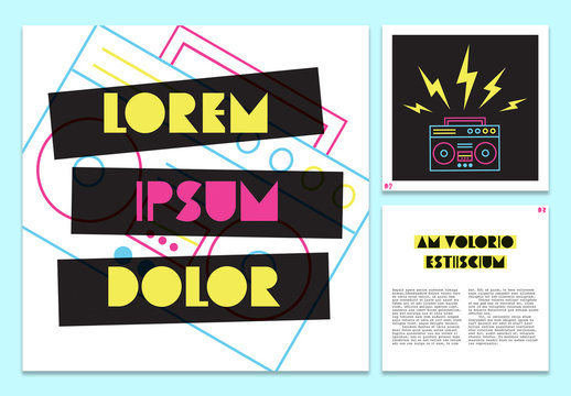 Booklet Layout with Neon Style Cartoon Graphics