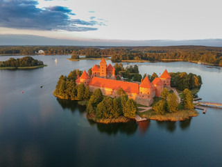 Aerial view of Trakai Castle - Island castle in Trakai is one of the most popular touristic destinations in Lithuania, houses a museum and a cultural center.