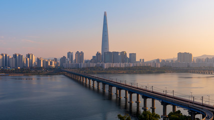 Sunset of Seoul Subway and Lotte Tower, South korea