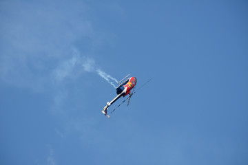 Red Bull helicopter performing during air show