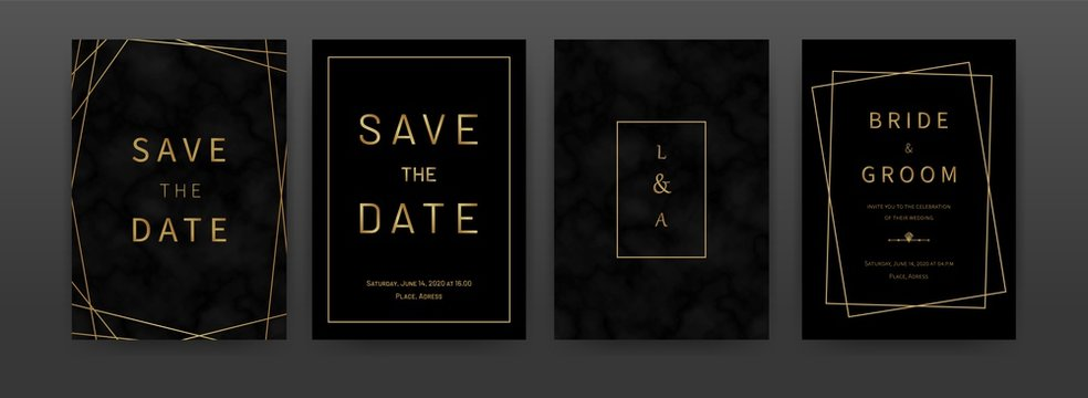 Black golden marble invitation cards. Vector artistic luxury texture backgrounds with geometric frames, design template for pattern, graphic poster, brochure, wedding birthday invitations