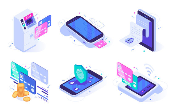 Isometric online payments. Electronic finances bill, finance payment security and digital purchase. Commerce mobile apps, digital shopping transaction. Isolated vector illustration icons set