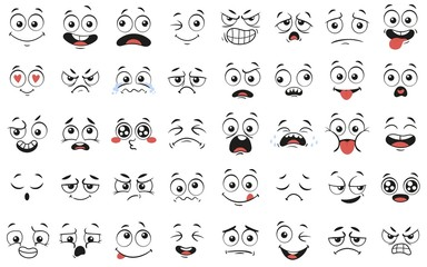 Cartoon faces. Expressive eyes and mouth, smiling, crying and surprised character face expressions. Caricature comic emotions or emoticon doodle. Isolated vector illustration icons set Wall mural