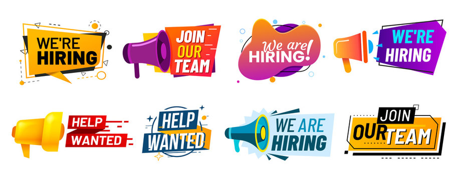 Join our team banners. We are hiring communication poster, help wanted advertising banner with speaker and vacant badge. Hr recruiting hire, vacancy job offer isolated vector signs set