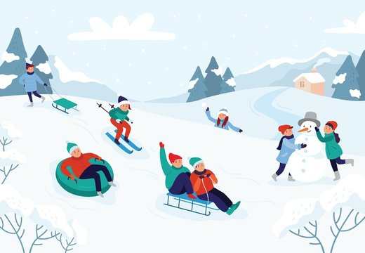 Kids riding sledding slide. Snow landscape, winter snowy fun activities. Sled speed riding or childhood holiday sledge ride game activity vector illustration