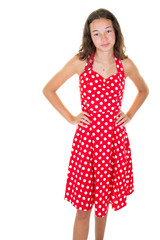 fashion girl 12 years old in red white dress sixties