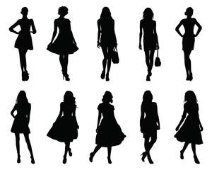 Set beautiful fashion girl silhouette on a white background