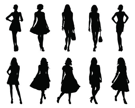 Set beautiful fashion girl silhouette on a white background