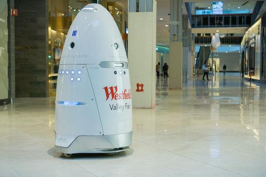 November 8, 2017 San Jose/CA/USA - Knightscope security robot patrolling Westfield Valley Fair Mall, Silicon Valley, San Francisco bay