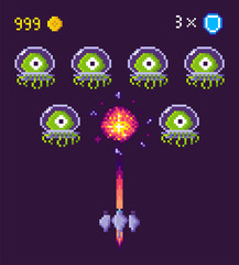 Spaceship and aliens fight pixel game vector. Pixelated characters and points gained in battle, spacecraft galaxy invaders in suits protective uniform