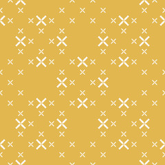 Simple geometric seamless pattern with small flowers, crosses. Yellow and white