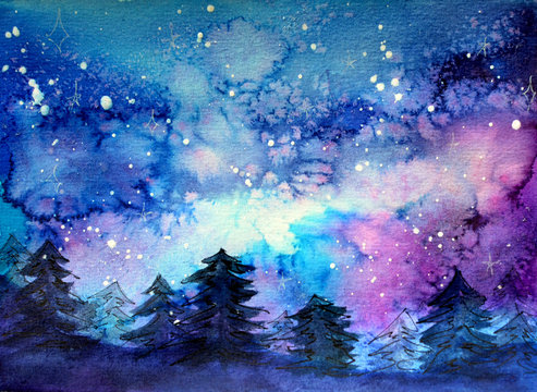 Space art at watercolor with night sky and trees