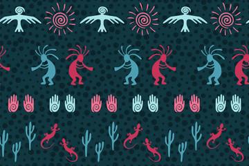 Aborigine, design with dancing god music spirit, wild nature, spiral signs.
