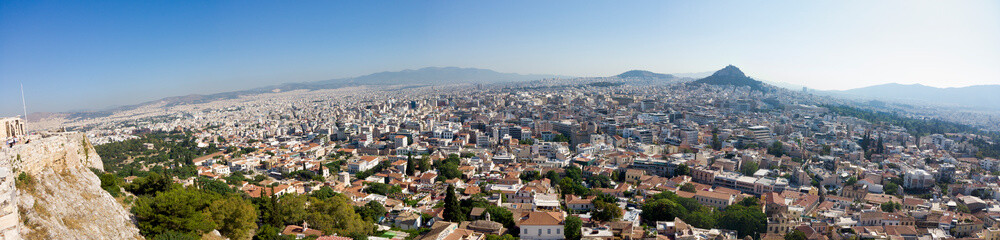 Poster Athens Athens Greece. From the Acropolis panoramic view over the city.