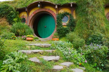 MATAMATA, NEW ZEALAND - APRIL 2, 2016: Movie set for the Lord of The Rings and The Hobbit. Bilbo Baggins house