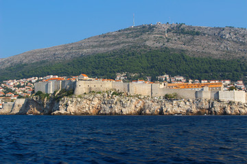 View of Dubrovnik and it's city wall from the Adriatic Sea