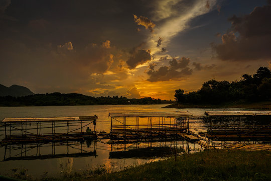 Purwakarta, West Java, Indonesia (03/30/2018) : Beautiful sunset in Jatiluhur Dam fishing place