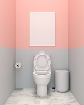 Blank photo frame for mockup and water closet in toilet, 3D rendering