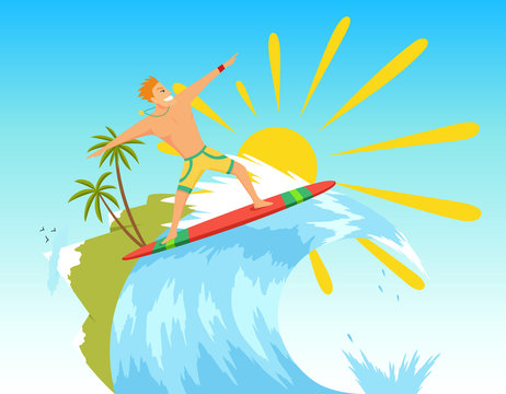 Surfer riding the wave. Vector illustration in flat stile.