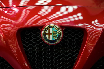 Detail of the Alfa Romeo car. Alfa Romeo Automobiles is Italian car manufacturer, founded in Milan.