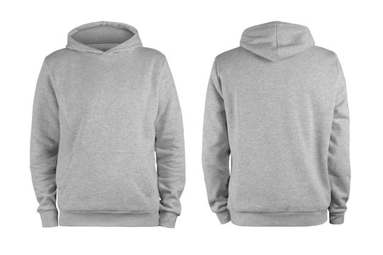 Men's grey blank hoodie template,from two sides, natural shape on invisible mannequin, for your design mockup for print, isolated on white background