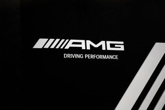Sign of Mercedes-AMG company. Mercedes-AMG GmbH is brand used by Mercedes-Benz, founded in 1967.