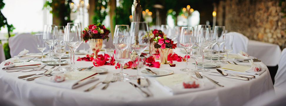 wedding - decorated table at luxury event