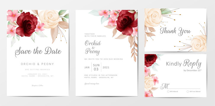 Elegant watercolor flowers wedding invitation cards template set