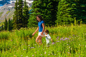 Wall Mural - Teenage sister walking younger brother between two fields of wild flowers in Mt. Rainier National Park.