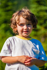 Fototapete - Cute, happy and smiling young boy toddler.